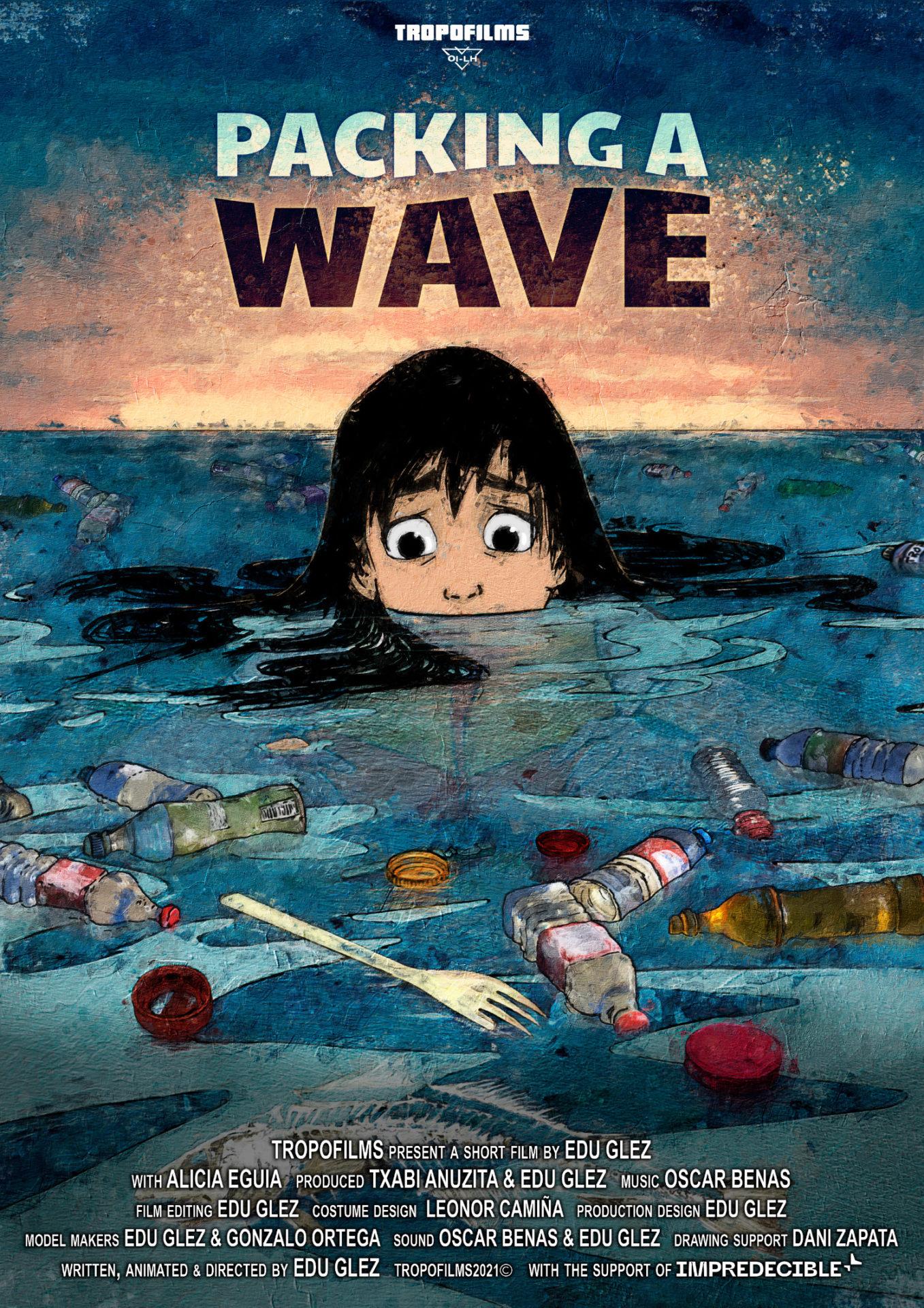Cartel del cortometraje de animación Packing a wave